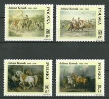 POLAND MNH ** 3446-3449 Hommage Au Peintre Juliusz KOSSAK (1824-1899) Tableaux Scènes Avec Chevaux Cheval Art Peinture - Ungebraucht