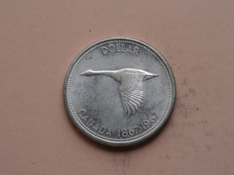 1967 - DOLLAR / CANADA 1867-1967 ( KM 70 ) Uncleaned 0.800 Silver ! - Canada