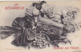 """34. BEDARIEUX . CARTE FANTAISIE. """" DE BEDARIEUX RECEVEZ CES FLEURS"""". ANNEE 1917 + TEXTE - Bedarieux"""