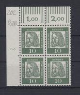 Berlin 202 4er Block Eckrand Links Oben Bedeutende Deutsche 10 Pf Postfrisch - Berlin (West)