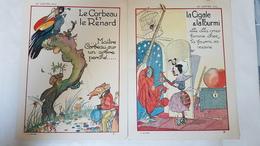 """7 Images Chromos """"Au Louvre"""" Paris Fables De FLORIAN Gravures F.LORIOUX 1928 - Other"""