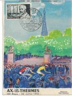 CP Carte  Officielle Du Tour De France 1955 N°16 -15 ème Etape NARBONNE-AX-LES-THERMES  Illustration VAN DONGEN - Radsport