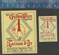 GULDEN VLIES - TOISON D'OR SAMYN TIELT  CAFÉS KOFFIES ( Matchbox Labels Belgium ) - Boites D'allumettes - Etiquettes
