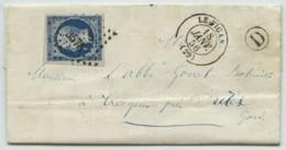 PC 3578 Le Vigan + Boîte Rurale D Aumessas / LàC 1856 Pr Tresques (Gard). Dr Martin, Botaniste . Type 22 Connaux Au Dos - 1849-1876: Classic Period