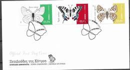 CYPRUS, 2020, FDC, BUTTERFLIES,3v On FDC - Butterflies