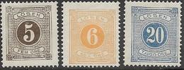 Sweden   1877   Sc#J14-5, J17   5o, 6o, 20o  Dues   MH   2016 Scott Value $13.50 - Portomarken