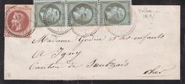 N° 19 Bd De 3, N° 26 S / Bd T.P. Ob T 22 Vallon En Sully 18 Fevr 67, Bd Pour Ygny, Canton De Saulzais Le Potier - 1862 Napoleone III