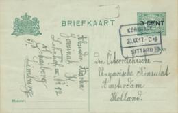 Nederland - 1917 - 3 Op 2,5 Cent Cijfer, Briefkaart Van Blok Treinstempel Kerkrade/Sittard Naar Amsterdam - Marcofilia