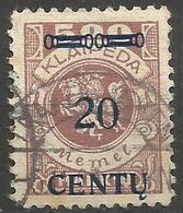Klaipeda (Memel) - 1923 Centu Overprint 20c/500m Used    Mi 171 - Gebraucht
