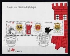 Portugal 1997 : Bloc Feuillet N° 132 Et 133 Oblitération 1er Jour : Armoiries Des Districts Portugais. - Blocks & Kleinbögen
