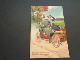 Carte ( 983 ) Fantaisie  Fantasie  Carte Gaufrée  Reliëf  - Thème :   Couple  Koppel  -  Voiture   Auto - Couples