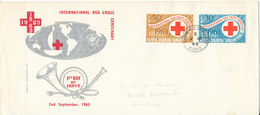 Kenya, Uganda & Tanganyika FDC 2-9-1963 RED CROSS Complete Set Of 2 With Cachet - Kenya, Uganda & Tanganyika
