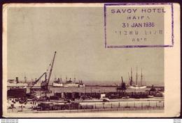 Israel Palestine Haifa Port Postcard 1936 SAVOY HOTEL - Israel