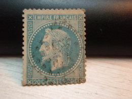 Timbre Empire Français 20 C. Napoléon III  Lauré. N° 29 B Oblitéré. - 1863-1870 Napoléon III Lauré
