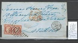 Lettre De Paris Pour Londres -Grande Bretagne - SIGNE CALVES -  Paire Du Céres 40 Centimes - Yvert No5 -1853 - 1849-1876: Période Classique