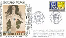 FRANCE - FDC  LA DEPORTATION OBLITERATION PAIX ET LIBERTE 1945-1995 29.04.95 STRASBOURG - Guerre Mondiale (Seconde)