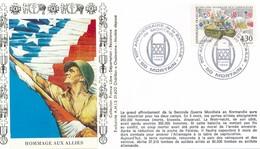FRANCE - FDC  HOMMAGE AUX ALLIES OBLITERATION 50E ANNIVERSAIRE DE LA BATAILLE DE MORTAIN 06.08.94 MORTAIN - WW2
