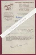 180320C - LETTRE MICHELIN BIBENDUM Pneu Automobile Manufacture PUISEUX PARIS 17e - Automovilismo