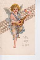 """CP 1910 : Un Ange Troubadour  """" To My Love """" ( En Relief ) , Ruban Gaufré Et Doré. - Engelen"""