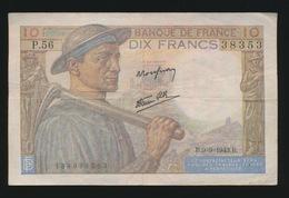 Billet De La Banque De FRANCE 10 Francs 1943  2 SCANS - 1871-1952 Anciens Francs Circulés Au XXème