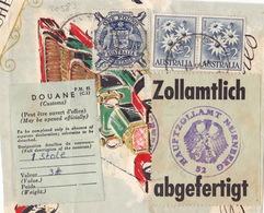 20583# AUSTRALIE FRAGMENT DE COLIS 1961 ETIQUETTE DE DOUANE CUSTOMS - ZOLLAMTLICH ABGEFERTIGT HAUPTZOLLAMT NURNBERG - Storia Postale