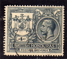 BRITISH HONDURAS BRITANNICO 1922 KING GEORGE V RE GIORGIO PEACE PACE CENT. 4c USED USATO OBLITERE' - British Honduras (...-1970)