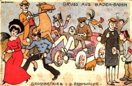 Gruß Aus Baden-Baden Künstlerkarte Großbetrieb I. D. Rennwoche Sign. Ivo Puhonny Ngl - Autres Illustrateurs