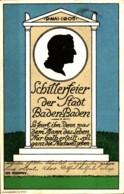Baden-Baden Künstlerkarte Schillerfeier Der Stadt Am 9. Mai 1905 Sign. Ivo Puhonny Gl 1905 - Autres Illustrateurs