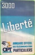NOUVELLE CALEDONIE - Prepaid - Liberté 3000  -  Annuaire Officiel Des Télécommunications - Nuova Caledonia