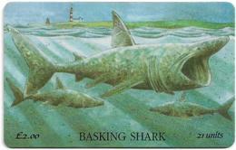 Isle Of Man - Chip - Marine Life - Basking Shark - 21U, 1995, 10.000ex, Used - Isola Di Man