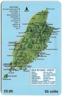 Isle Of Man - Chip - Map Of Isle Of Man - 55U, 1994, 10.000ex, Used - Isola Di Man