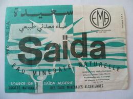 Ancienne étiquette  SAIDA Eau Minérale Naturelle Algerie - Etiquetas