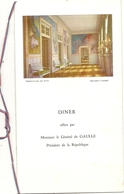 NICE . GALERIE CHERET . VISITE GENERAL DE GAULLE .22/10/1960 . DINER - Menus