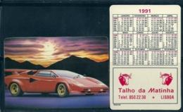 1991 Pocket Poche Calendar Calandrier Calendario Portugal Carros Armazéns Da Matinha - Calendars
