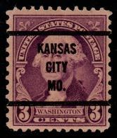 """USA Precancel Vorausentwertung Preo, """"KANSAS CITY"""" (MO). 3 Cents. - Preobliterati"""