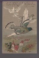 CPA FANTAISIE Gaufrée - Pigeons Survolant Un Village - Dreh- Und Zugkarten
