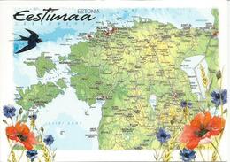 Carte Géographique D'Estonie , Carte Postale Neuve Non Circulée - Estonie