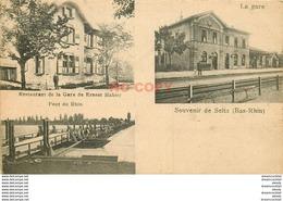 WW 67 SELTZ. La Gare, Le Restaurant De Ernest Mahier Et Le Pont De Barques Sur Le Rhin - France