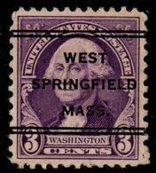 "USA Precancel Vorausentwertung Preo, ""WEST SPRINGFIELD"" (MASS). 3 Cents. - Preobliterati"