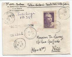 GANDON 25FR VIOLET N°731 SEUL LETTRE CHARGE 33000FR TOULOUSE BOURSE 1945 AU TARIF RARE - 1945-54 Marianne De Gandon