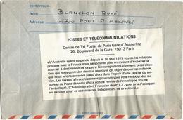 AEROGRAMME 1FR15 PONT OISE 19.6.1973 POUR AUSTRALIE + ÉTIQUETTE AU DOS PTT AUSTRALIE AYANT SUSPENDU RELATIONS - Marcophilie (Lettres)