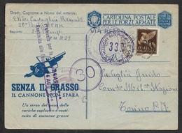 """1943 ITALIE OCCUPATION GRECE PM - TRIPOLIS FORZE ARMATE - DIVISIONE FANTERIA """" CALIGIARI """" COMMANDO 28 - Occupation 2ème Guerre Mond. (Italie)"""