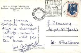 YT 1469 Mont Marsan CAD Perlé L'épine Marne 2 9 1968 Très Rare Daguin Illustré L'épine Sa Basilique XVe Son Pélerinage - Marcofilie (Brieven)