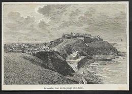 GRAVURE DE 1878  --  GRANVILLE VUE DE LA PLAGE DES BAINS  3S667 - Alte Papiere