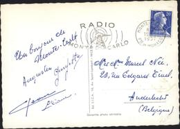 YT 1011B Marianne Muller 20 F Bleue Seul Sur Lettre Monté Carlo Monaco 19 11 57 Flamme Radio Monté Carlo Pour Belgique - Mechanische Stempels (reclame)