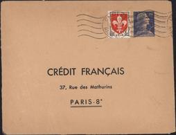 Enveloppe Entier Marianne Muller 20F Bleu Crédit Français  Storch D5C Enveloppe Privée TSC Timbré Sur Commande YT 1186 - Entiers Postaux