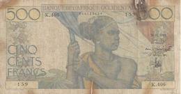 FRENCH WEST AFRICA P41 500 FRANCS 1948 FINE SCARCE RESTORED - Billetes