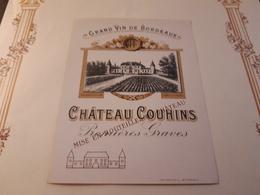 RARE ET VIEILLE ÉTIQUETTE PREMIERES GRAVES CHÂTEAU COUHINS - Bordeaux