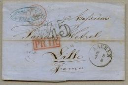 Taxe 45 Double Trait Sur Lettre D'Aix La Chapelle Pour Lille En 1855 - 1849-1876: Période Classique