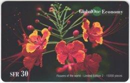 SWITZERLAND D-390 Prepaid GlobalOne - Plant, Flower - MINT - Schweiz